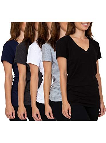 Sexy Basics Women's 5 & 10 Pack Casual & Active Cotton Stretch V Neck Short Sleeve Shirts (X-Large, 5 Pack -Charcoal/White/Black/HeatherGrey/Navy)