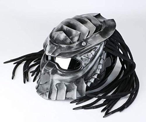 EIKOU バイクヘルメット オフロード ジェットヘルメット エイリアンハーレーフルヘルメットプレデターアイアンブラッドヘルメットLEDナイトライトレトロ交換ヘルメットと防曇レンズ (L)