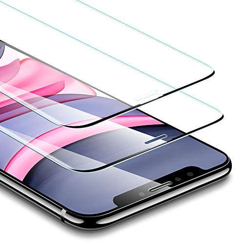 ESR Panzerglas Displayschutzfolie [2 Stück] kompatibel mit iPhone 11 /iPhone XR Schutzfolie [Keine Seitenblenden] mit Montagerahmen [3 Fach stärker]