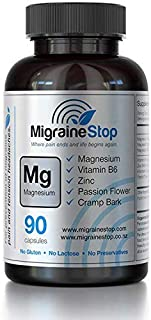 Migraine Stop - Natural Migraine Relief Supplement | Neurologist Recommended #1 in USA | Gluten, GMO, Lactose, & Preservatives Free | 90 Vegan Capsules