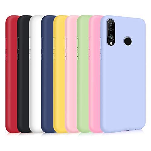 9X Cover per Huawei P30 Lite, Custodia Morbido Silicone Ultra-Sottile TPU Tinta Unita Anti-Graffio Paraurti Protettiva Flessibile Gomma Case - 9 Colori