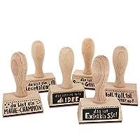 Schöne Haptik ✓ Die 6 hochwertigen Holzstempel mit einer Höhe von 8 cm, einer Breite von 5 cm und einer Tiefe von 2 cm sind besonders griffig und liegen Dank der ergonomischen Form optimal in der Hand Individualisierbar ✓ Stempeln, Name einschreiben ...