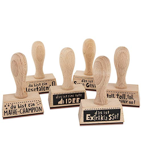 Trendhaus 601629 Lehrerstempel   Premium Belohnungsstempel aus Holz   6 Verschiedene Botschaften inkl. Personalisierungsmöglichkeit   8cm x 5cm x 2 cm