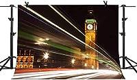 ZPC 7X5FTロンドンのランドマークの背景ビッグベンの背景市の夜景ライトストレートビームの光写真ブーススタジオ小道具テーマパーティー背景CHE076