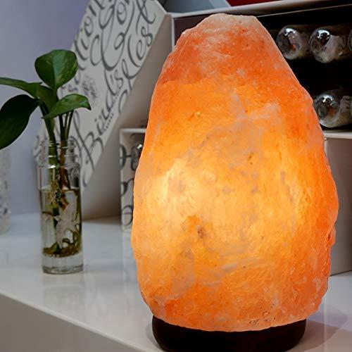 ZIYIUI Lampada di sale dell'Himalaya 100% cristallo naturale Lampada di sale di roccia Illuminazione regolabile fatta a mano Lampada di sale Lampada da comodino Camera da letto Luce notturna (3-4kg)