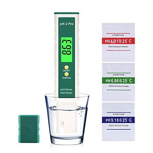 Misuratore Ph Tester pH Digitale, Misuratore Ph Qualità Acqua Tester Portatile PH test Tester Alta Precisione 0.00-14.00 Range PH per acquari, Piscine, Acqua, Laboratorio