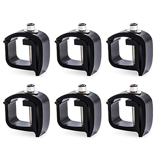 AA-Racks P-AC(6)-01 Set of 6 Aluminum C-Clamps for Non-Drilling Truck Rack & Camper Shell Installation-Black