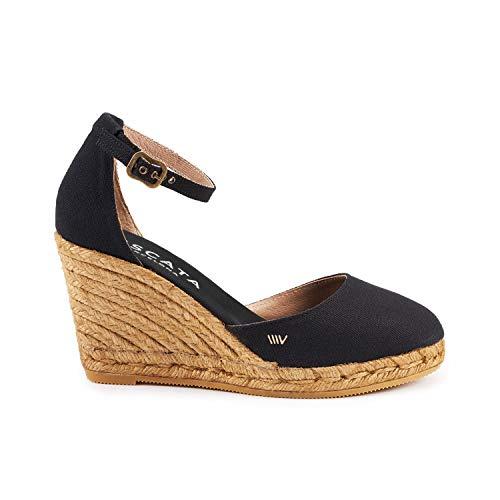 Viscata Estartit Elegant Comfort, Canvas, Ankle-Strap, Closed Toe, Espadrilles with 3-Inch Heel Made in Spain