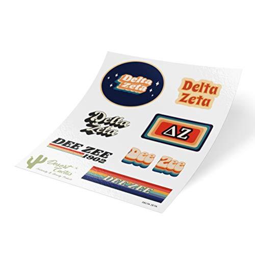 Delta Zeta 70s Themed Sticker Sheet Decal Laptop Water Bottle Car dz (70s Sheet)
