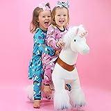 PonyCycle Officiel Classique U Série Balade à Cheval Jouet Animal en Peluche Animal Qui Marche Licorne Blanche pour Les Enfants de 3 à 5 Ans Taille Petite U304