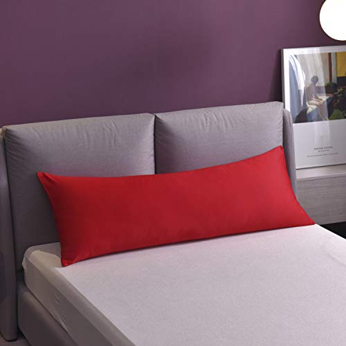 YAROO Body Pillow Cover 20' x 54',100% Egyptian Cotton, 300 Thread Count, Super Soft Body Pillowcases with Zipper Closure,Red