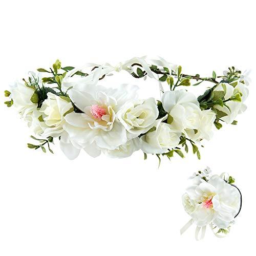 MOOKLIN Diadema con Banda de Muñeca Conjunto, Diademas de Flores Floral Garland Corona de Pelo de Multicolor con Cinta Elástica Ajustable para Mujer niña