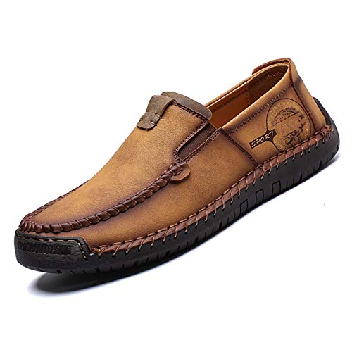 Qiucdzi Men's Casual Leather Loafer Breathable Driving Boat Shoes Lightweight Slip On Flats Walking Sneakers Brown