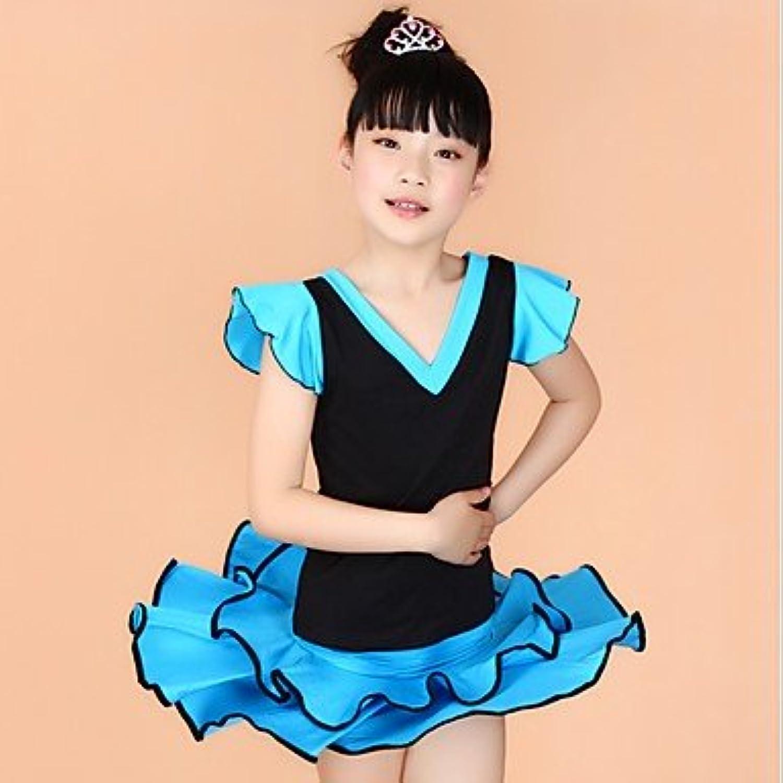 Dancewear Latintanz-Austattungen(Blau Fuchsie Rot Gelb,Milchfieber,Latintanz) - fürKinder Oberteil Rock Kurze rmel Normal, XXL