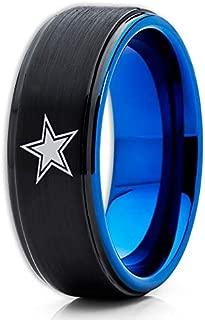 Silly Kings Blue Tungsten Wedding Band,Dallas Cowboys Ring,Football Wedding Band,Black Tungsten Ring,8mm Black Tungsten Ring