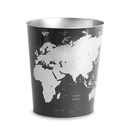 Balvi Papelera Globe Color Negro diseño? Mapa Mundo Lata 26x22x17,7 cm