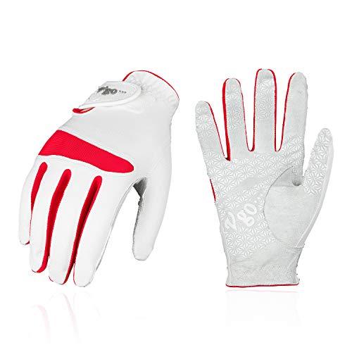 Vgo... Golfhandschuhe für Damen, Mikrofaserpalmen, weich und atmungsaktiv(1 Paar, 7/S, Weiß mit Rot, MF7991)