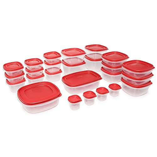 Rubbermaid Easy Find Lids Food Storage-Containers, Racer Red, 50 Piece Set