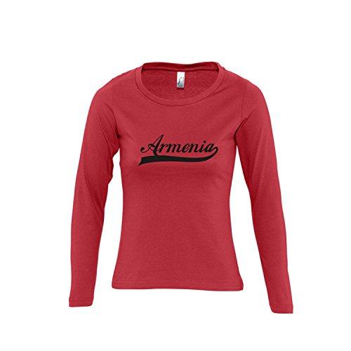 Armenia Oldschool Armenien LÄNDERSHIRT EM / WM FAN Trikot - Damen Langarm Longsleeve T-Shirt S-XL , red - schwarz , S