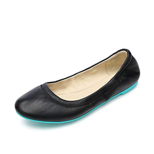 Women's Ballet Flats Leather Lambskin Loafers Classic Round Toe Casual Ladies Flat Shoes for Women Black-Blue