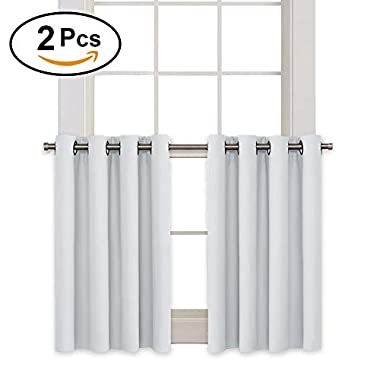 RYB HOME Blackout Curtain Tiers Valances Set Home Decorative Window Covering 8 Grommets Drapes Room Darkening Drapery for Nursery/Baby Room, 52 Width x 36 Length In Each Panel, Platinum, 2 Pcs