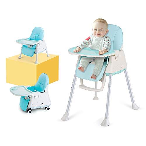 Trona Para Bebe, LADUO Trona Portatil y Convertible con 4 Ruedas, Bandeja Ajustable, Cojin Comfort para Bebe (Azul)