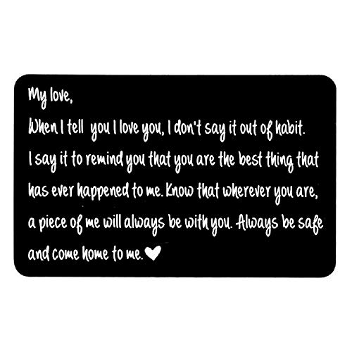 I Love You Wallet Card Love Note for Husband To My Love Gifts, Engraved Wallet Insert, Valentine gifts for men, Anniversary Card from Wife, Anniversary Cards for Husband, Boyfriend