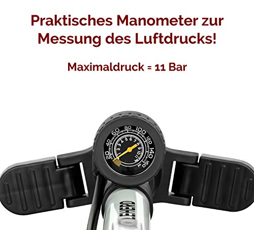 CYCLEHERO Fahrradluftpumpe (Farbe Schwarz) Fahrradpumpe mit übersichtlichem Manometer Display - 5