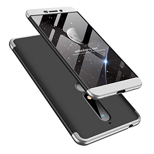 COTDINFORCA Nokia 6 2018 Case, 3 in 1 Ultra Thin Hard PC Case Premium Slim 360 Degree Full Body Protective Shockproof Cover for Nokia 6.1 2018. 3 in 1- Silver + Black