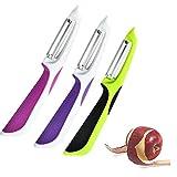 3pcs ANTI-SLIP The Liham peeler potato vegetable fruit food slicer cutter knife, with Safety...