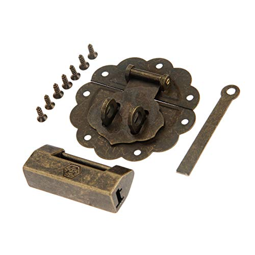 L-Yune,bolt 1pc de Bronce Antiguo Chino Viejo de Bloqueo/candado y el Cuadro de pestillo del Cerrojo de la Hebilla for gabinete de Madera joyería de Muebles