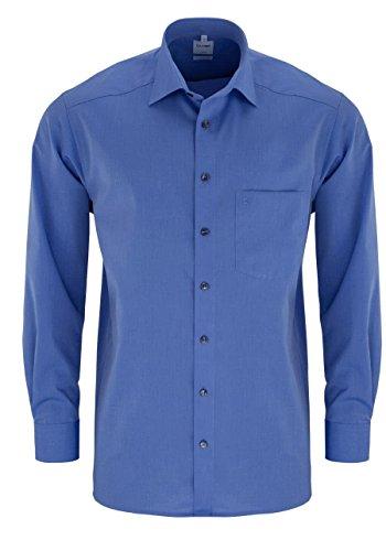 OLYMP Luxor Comfort fit Hemd Langarm Brusttasche Chambray Mittelblau Größe 44