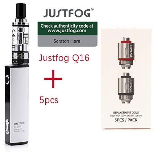 100% AUTENTICO sigaretta elettronica justfog q16 kit completo (argento) + 5 resistenze justfog 1.6ohm il prodotto senza tabacco senza nicotina (Q16 KIT + 5 resistenze)