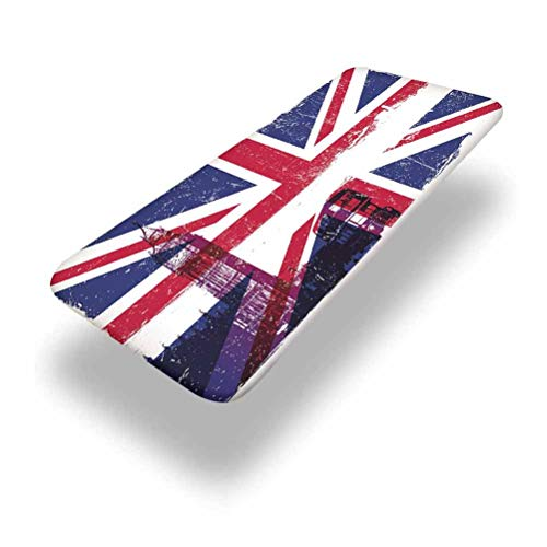5ft Union Jack Elastic Edge Fitted Table Cover,Grungy Aged UK Flag Big Ben Double Decker Country Culture Historical Landmark Fabric Table Top Cap Cover,for Camping, Dining, Outdoor, Park, Patio