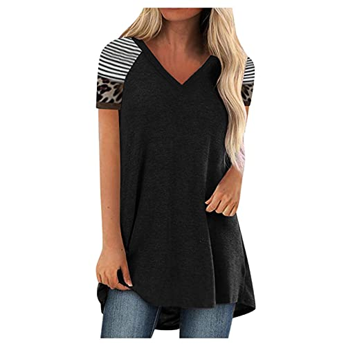 IHEHUA Tunics for Women Short Sleeve T Shirts Tops V Neck Summer Loose Fit Solid Blouse(F-Black,M)