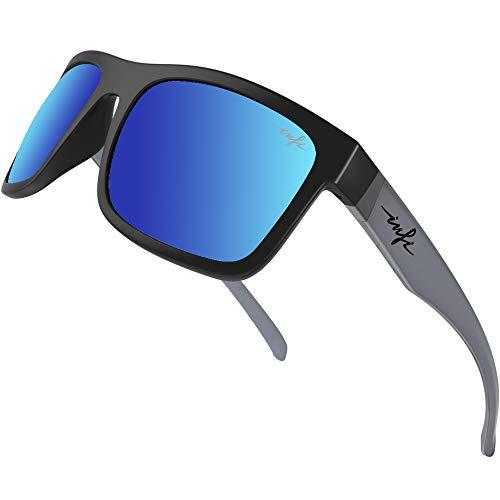 Sunglasses Mens Polarized Fishing Driving Running Sport Glasses XL, Blue Mirrored HD Nylon Lens UV...