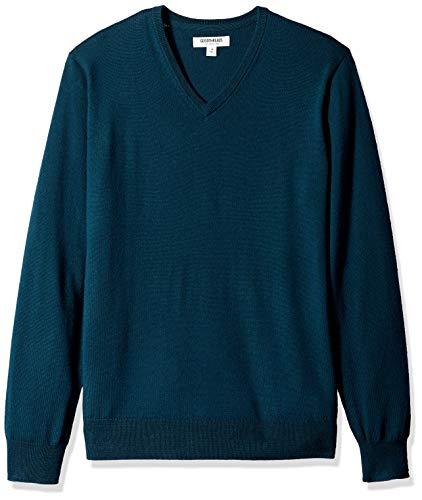 Amazon Brand - Goodthreads Men's Lightweight Merino Wool V-Neck Sweater, deep Teal, Large
