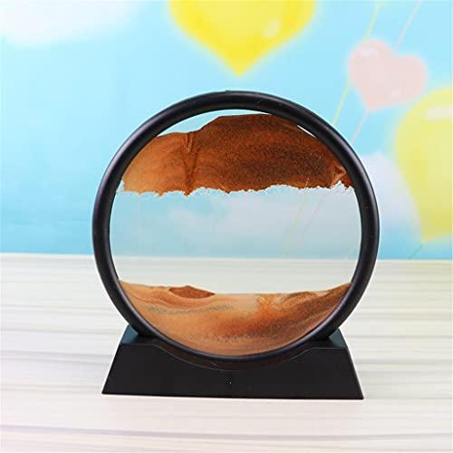 DLVKHKL Cuadro de arte de arena móvil de 30,48 cm de vidrio redondo 3D de fondo de arena en movimiento con marco de arena que fluye pintura de arena (color: H)