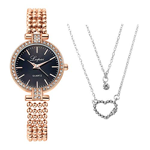 Business Quarzuhr mit Halskette, Mode Damen Quarz Uhr mit Edelstahl Armband, Frauenuhren Damenuhr, Casual Armbanduhr Geschenk für Frauen Damen (D1)