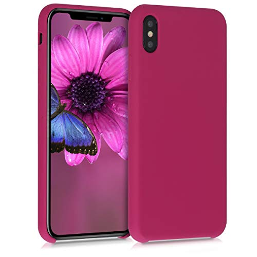 kwmobile Funda Compatible con Apple iPhone XS MAX - Carcasa de TPU para móvil - Cover Trasero en Rojo Granada