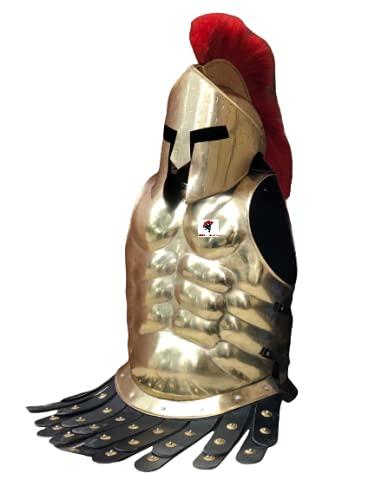 Casco medieval Roman King Leonidas 300 espartano con ciruelo rojo + armadura muscular coraza + pierna o brazo protector de latn disfraz de Halloween SCA LARP