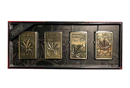 Jian Tai Set aus 4 Feuerzeugen Modell Zip Winddicht - tolle Geschenkidee - Assortiti Cannabis