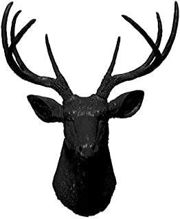 Black 8 Point Deer Head | Faux Taxidermy | Black 8 Point Resin Deer Head | Faux Taxidermy Studio (Black, 20.5