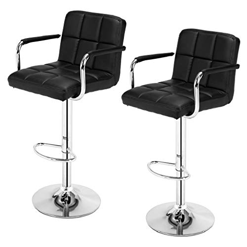 2pcs Cushion Bar Stools SSJ-891 60-80cm 6 Checks Round Cushion Bar Stools with Armrest Black