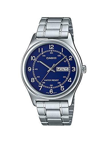 Casio MTP-V006D-2B Men's Stainless Steel Easy Reader Blue Dial Day Date Analog Dress Watch