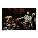 Cartel decorativo para pared de baño, Caravaggio Judith decapitación, Holofernes, lienzo decorativo para pared, póster de sala de estar, dormitorio, 30,5 x 45,7 cm sin marco
