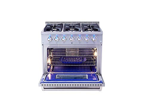 Thor Kitchen 36 inch Freestanding Pro-Style Professional Gas Range with 5.2 Cu. Ft. Oven, 6 Burners, in Stainless Steel - HRG3618U