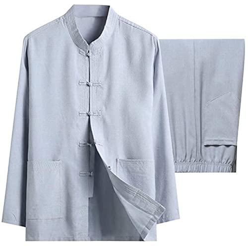 BFGDS Männer Baumwolle Leinen Tai Chi Set Chinesische Traditionelle Tang Anzug Kampfkunst Kleidung Hemden Hosen Tai Chi Kung Fu Uniform ZweiteilerGray-XX Large