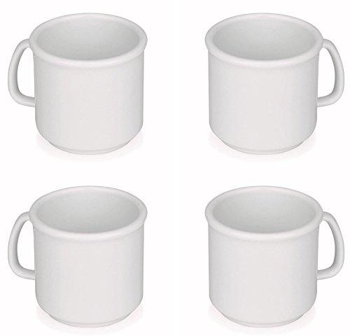 Viva Haushaltswaren - 4 x Kaffeebecher / Trinkbecher 0,3 L Set in Weiß, BPA-frei, stapelbare Kunststoff Kaffeetassen aus Polypropylen (große Becher / Tassen für Kaffee, Tee, Wasser) Outdoor & Camping