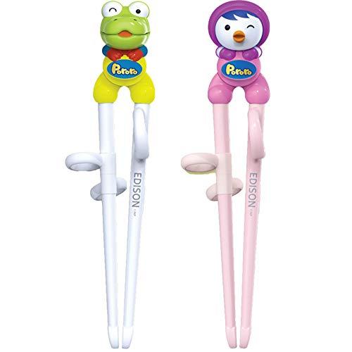 Edison Training Chopsticks Helper for Kids, Children, Beginners | Learning Chopsticks (2 Pairs) - Penguin & Dinosaur - Crong/Petty